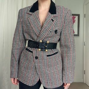Vintage Houndstooth Plaid Wool Blend Blazer